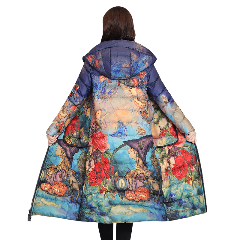 Fashion Print   Down   Jacket Female Long Slim parkas New Autumn Winter Hooded   Coats   Large Size 5XL Women Winter Outerwear Tops X390
