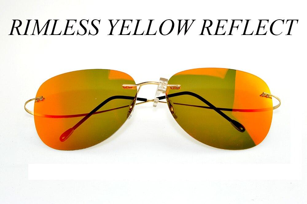 CLARA VIDA YELLOW RREFLECTION MIRROR LENSES RIMLESS SUPER LIGHT POLARIZED UV400 UV 100% SUNGLASSES FOR MEN WOMEN