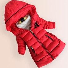 Детские девушки Зимняя Куртка 100% Теплый Пуховик Пальто Детский Открытый Хлопок Пиджаки Письмо Толстый Свитер Высокое Качество