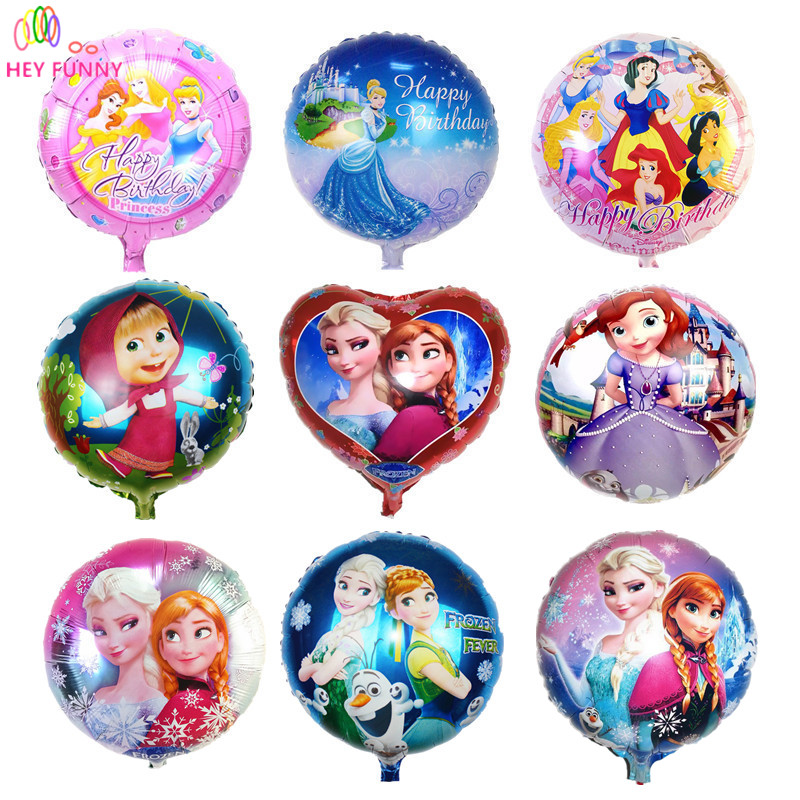 HEY FUNNY 5 pcs/lot 18 inch round masha foil balloons Sophia princess helium balloon for kid birthday party&baby shower supplies