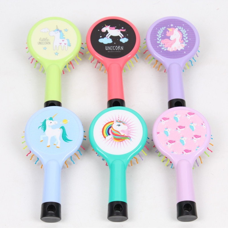1 PC Unicorn Rainbow Volume Comb Anti-static Magic Hair Curl Straight Massage Comb Brush Styling Tool