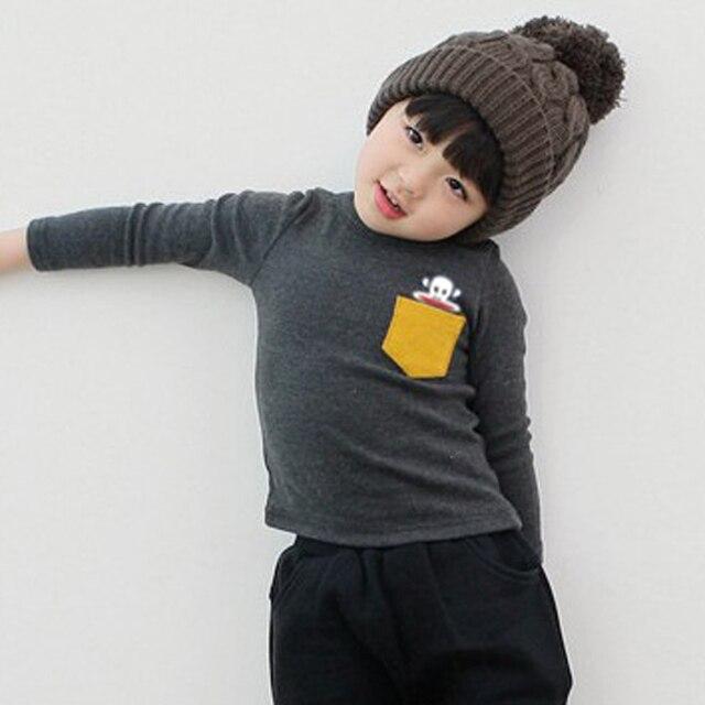 5 Colors Children Clothes Girl Boy Long Sleeve Cotton O-Neck T Shirts 2019 Kids Clothing Tops Basic Pocket Decor T-Shirt 4