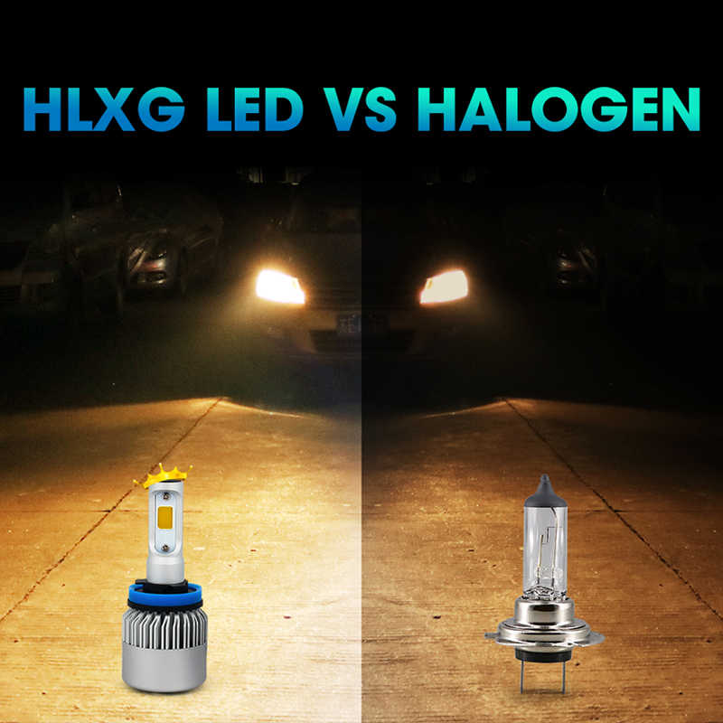 hlxg 2PCS 8000LM 72W Led H4 3000K bulbs COB Chips  H7 Car Led H3 H11 H8 9005 HB3 9006 HB4 12V 24V Auto headlights bulbs kit