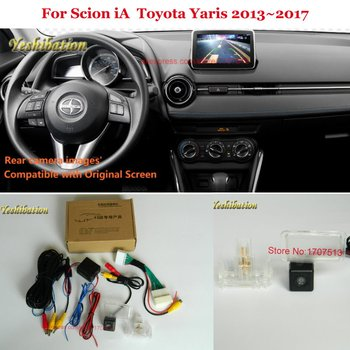 Back Up Reverse Camera For Scion iA / Toyota Yaris 2013~2017 - Car Rear View Camera Sets RCA & Original Screen image