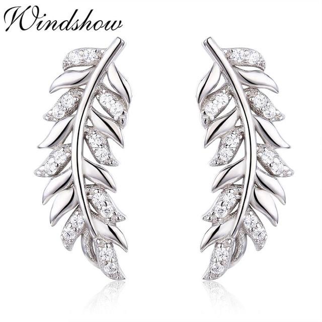 925 Sterling Silver Feather Leaf CZ Ear Climber Stud Earrings For Women  Girls Jewelry Orecchini Aros Aretes Ear Jacket oorbellen