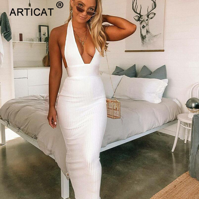 Articat Halter Backless Sexy Knitted Pencil Dress Women White Off Shoulder Long Bodycon Party Dress Elegant Summer Dress 19 7