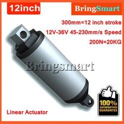 Actionneur tubulaire électrique à grande vitesse, 12V, 300mm, course, 45-230mm/s, 12 pouces, 200n, 20KG, charge 12-36V, cc