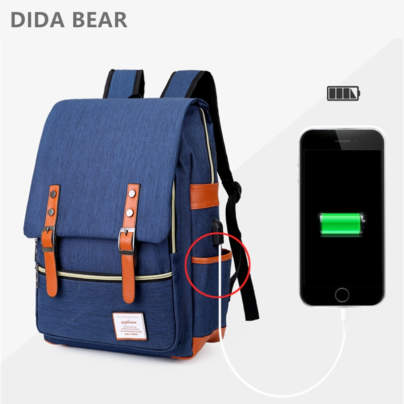 DIDA BEAR USB Charging Backpack Unisex School Backpack for Teenagers Casual Rucksack Oxford Laptop Fashion Man Travel Backpacks органик шоп китчен полирующий скраб для ног хрустальная туфелька 100мл