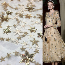 1Yard Sequins Lace Fabric Shining Star Tulle Mesh For Bridal Gown Dress Clothing Sewing Decorative 91*130cm