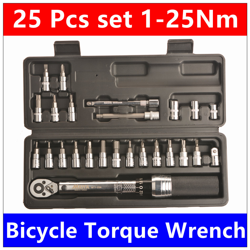 Mxita 25 PCS set 1/4DR 1-25Nm torque wrench Bicycle bike tools kit set tool bike repair spanner SET accuracy: 3% hand tool set 1 4dr 2 14nm 10 piece torque wrench bicycle bike tools kit set tool bike repair spanner hook spanner spanners
