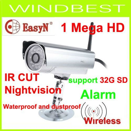EasyN  Wireless WIFI outdoor use CMOS 1Mega pixel   IR CUT NightVision waterprooof alarm IP Camera support 32G SD freeshipping