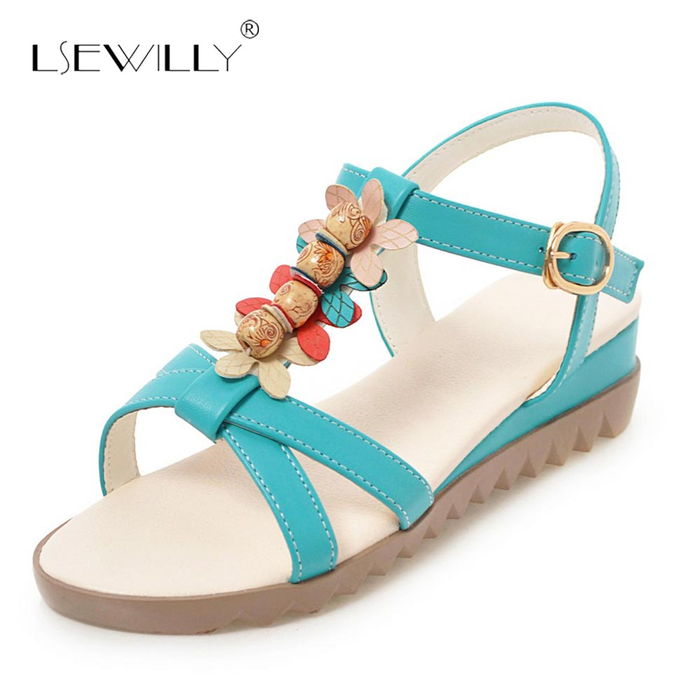 Lsewilly 2018 Bohemian Women Sandals Beading T-strap Slippers Summer Beach Sandals Women Flip Flops Ladies Wedge Sandals S248