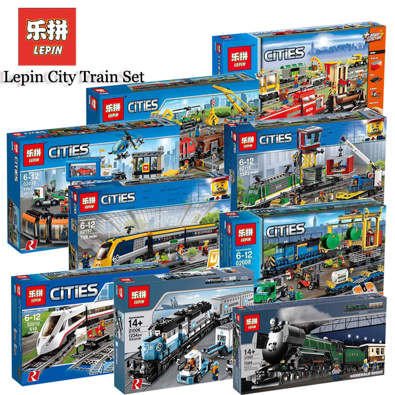 Lepin City Motor Train Sets 02008 02009 21005 21006 21007 02117 02118 Compatible Legoing Model Building Kits Blocks Bricks Toys