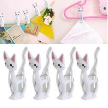 4pcs Creative Cats Plastic Clothes Pegs Clothespins Cute Beach Towel Clips Bed Sheet Handdoek Socks Windproof Laundry Pins