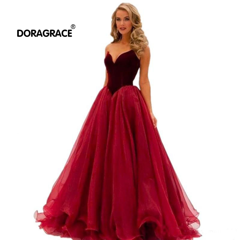 Doragrace V Neck Tulle Prom Dresses Burgundy Prom Gowns Formal Evening Party Dresses Plus Size