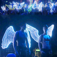 Creative LED glowing angel wings for men and women Nightclub bar show light clothes show stage costume Colourful butterfly