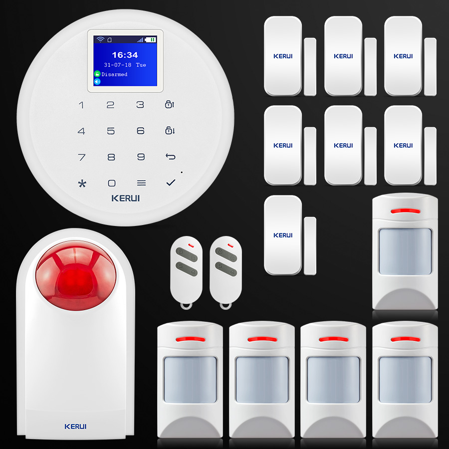 New KERUI W17 Android IOS APP Control GSM WiFi Home Security Alarm System Wireless Pet Immune Motion Detector Wireless Siren smart android ios app controlled home alarm system touch keypad wifi gsm alarm system with pet immune motion detector siren horn