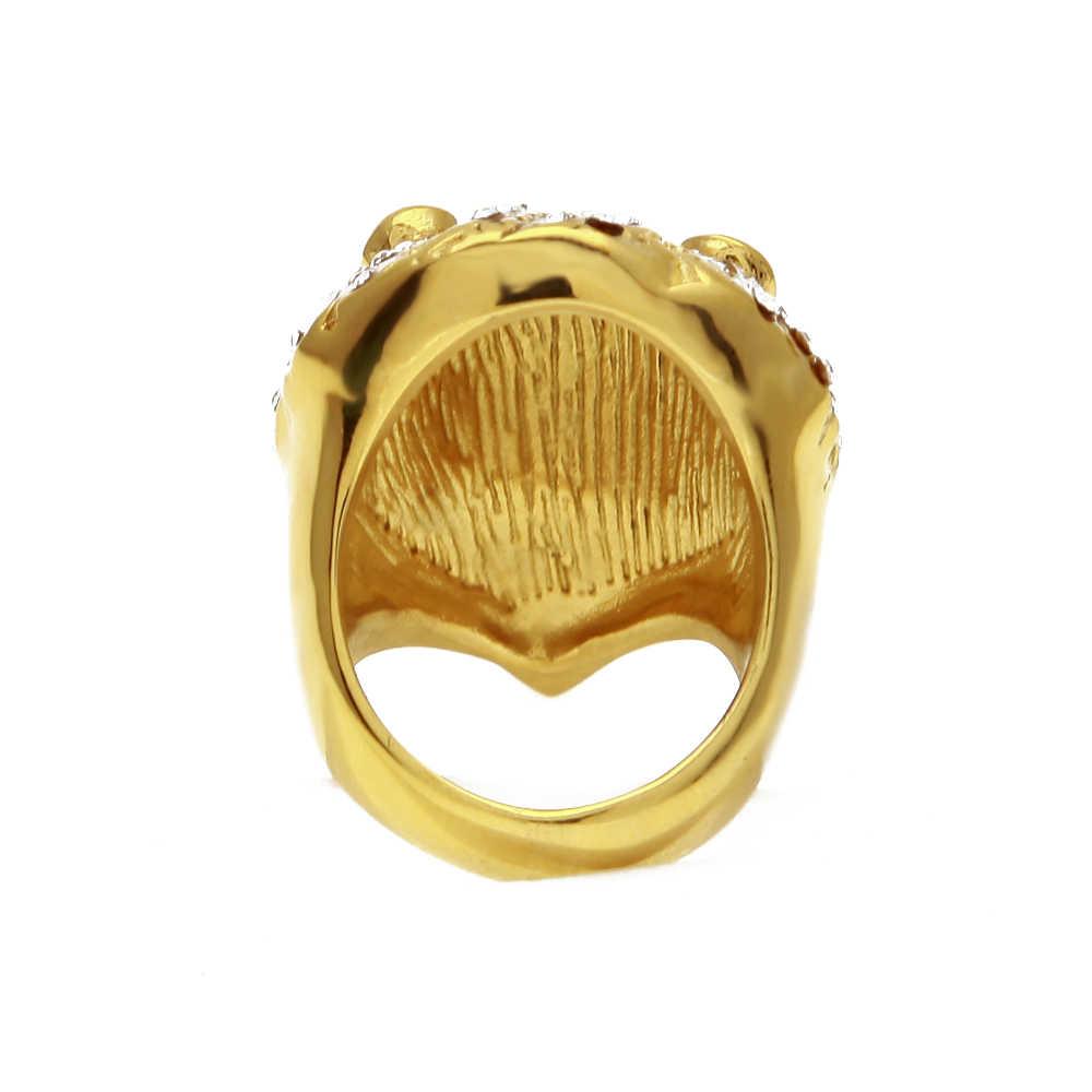 U WINสแตนเลสสีทองRhinestหัวสิงโตแหวนพังก์ร็อกLcedออกBlingเพทายผู้ชายผู้ชายแฟชั่นฮิปฮอปเครื่องประดับ