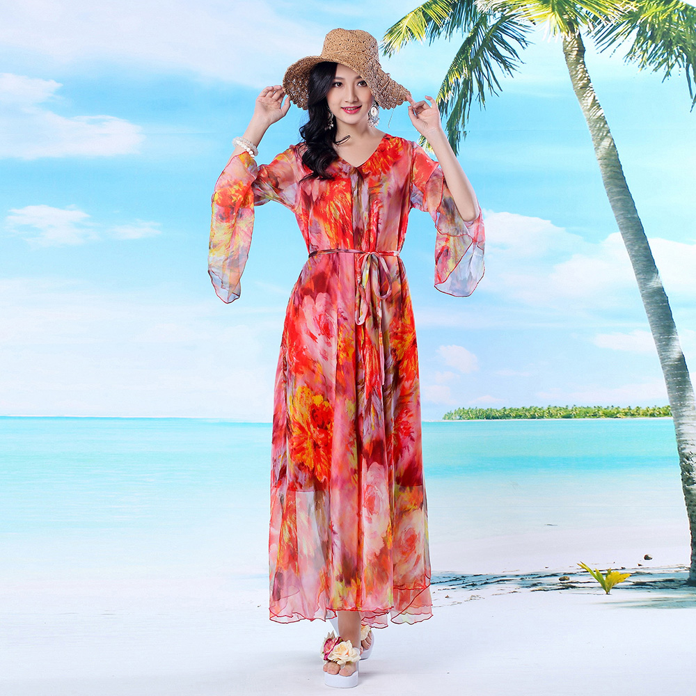 2017 Summer Red Floral Flare Sleeve Bohemia Flowy Plus Sizes