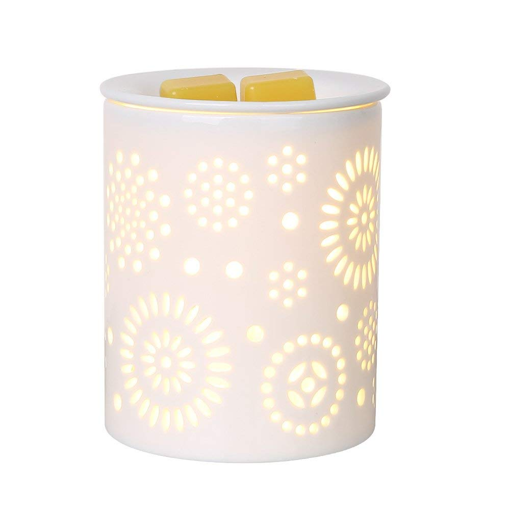Ceramic Sunflower Pattern Oil Warmer Electric Incense Wax Tart Burner Fragrance Candle Wax Warmer Night Light Aroma Decorative diamond pattern candle cover