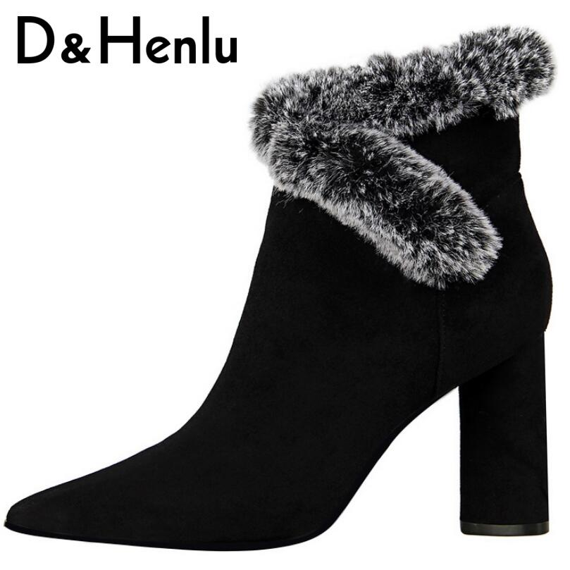 D&Henlu Rabbit Fur Women Boots High Heels Ankle Boots Pointed Toe 8.5cm 2017 New Short Boots Heels Winter Shoes Women High Heels 2017 winter new clothes to overcome the coat of women in the long reed rabbit hair fur fur coat fox raccoon fur collar