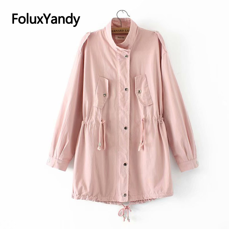 4 Colors Korean   Trench   Coat for Women Casual Pockets Loose Plus Size   Trench   Spring Coats Outerwear KKFY3192