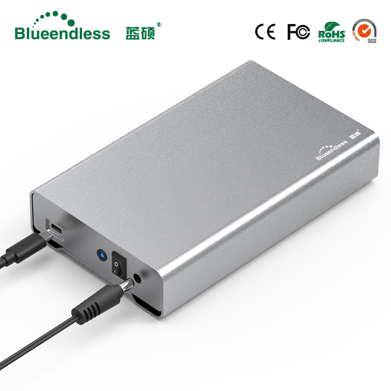 Blueendless Complet En Aluminium disque dur 3.5 hdd type-c hdd boîte 3.5 sata usb 3.0 disque dur externe pour Mac/Windows système