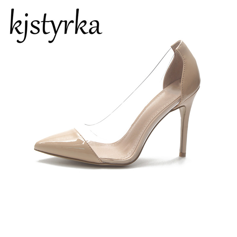 Kjstyrka Women Pumps 2018 Autumn Shoes Transparent 10cm High Heels Sexy Pointed Toe Slip-on Clear Party Dress Shoes For Lady sexy bling bling glitter high heel pumps women pointed toe metal heels party dress shoes slip on office lady dress shoes