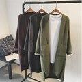 Nueva Mujer de la Cachemira Capa de la Rebeca de 2017 Del Otoño Del Resorte Solid Abrir Escote Abrigos Largos Ropa de Tejer Suéter de Las Rebecas Escudo W885