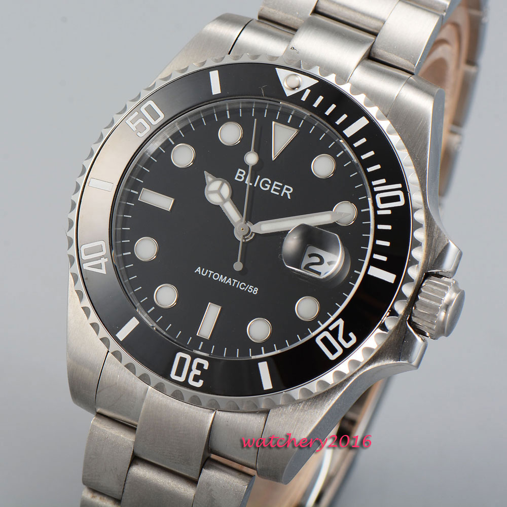 43mm Bliger Black dial Sapphire Crystal 2018 New Hot Top Brand ceramic bezel luminous marks Automatic Mechanical Mens Watch43mm Bliger Black dial Sapphire Crystal 2018 New Hot Top Brand ceramic bezel luminous marks Automatic Mechanical Mens Watch