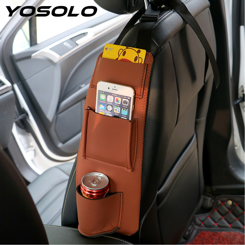 Car Seat Side Bag Organizer Hanger Storage Bag Universal Car Accessories Box Pouch Side Seat Holder Leather Stowing Tidying