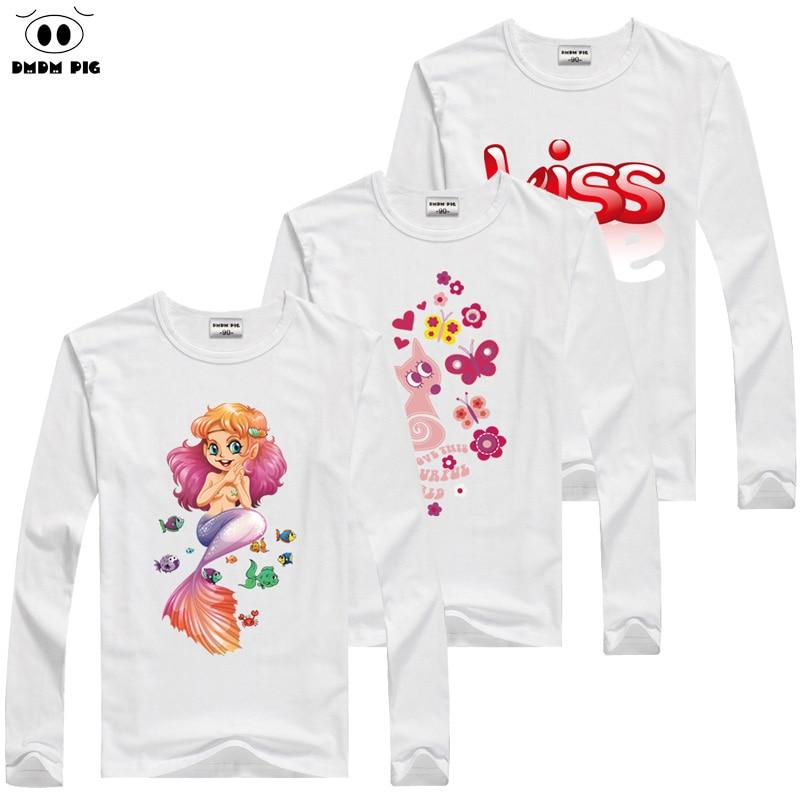 DMDM PIG 2019 מותג בנות חולצת טריקו ילדים T חולצה בייבי בוי ילדה בגדים ארוך חולצת טריקו לנערות ילדים בגדים לבנים