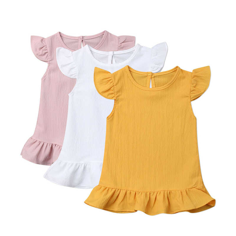Sevimli Kolsuz Çocuk Kız Şifon Elbise Toddler Katı Ruffles Bir Çizgi Elbiseler Yaz Shein Parti Elbise Vestidos Sundress Giysileri