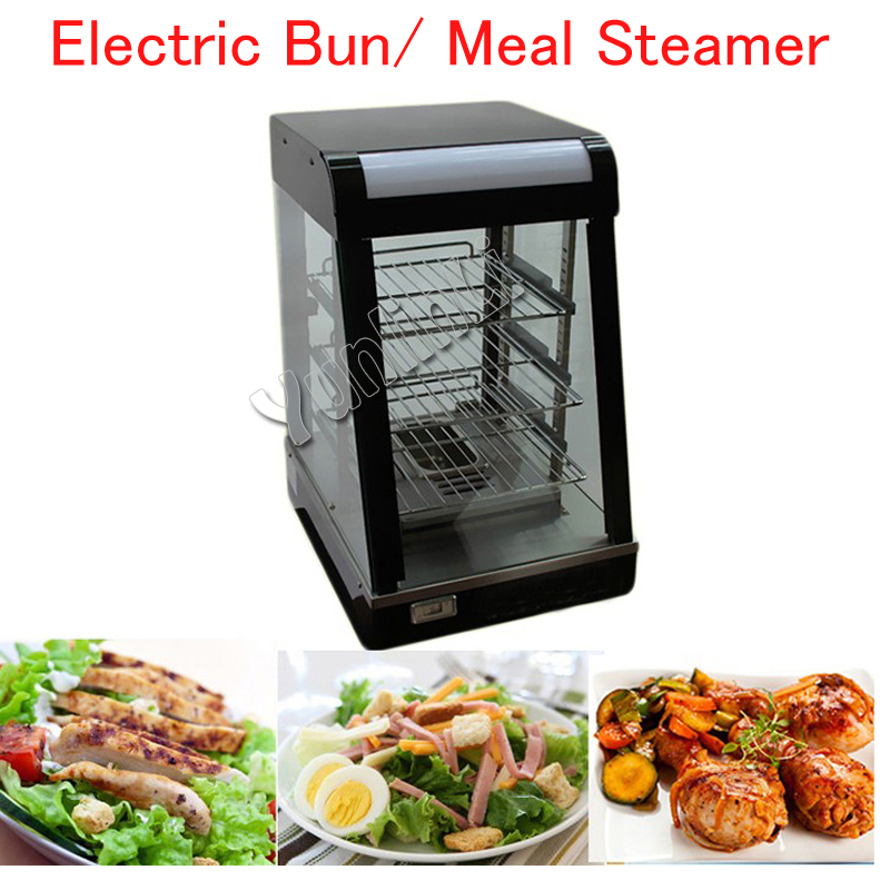 Commercial Food Warmer Electric Bun/ Meal Steamer Food Heating Container Stainless Steel Food Steaming Machine FY-604 dmwd electric heating lunch box food warmer lunchbox three layers meal vacuum insulation heat rice steamer stainless steel eu us