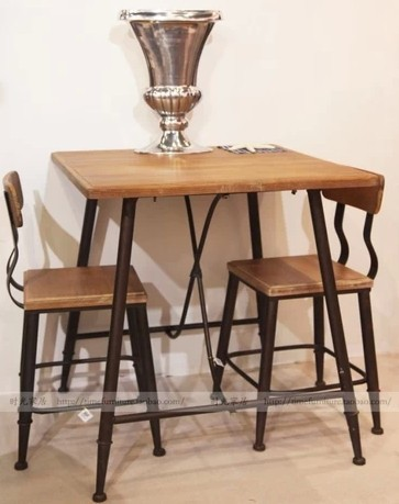 Antique Do The Old Wood Vintage Wrought Iron Dining Table Coffee Desk Style Bar