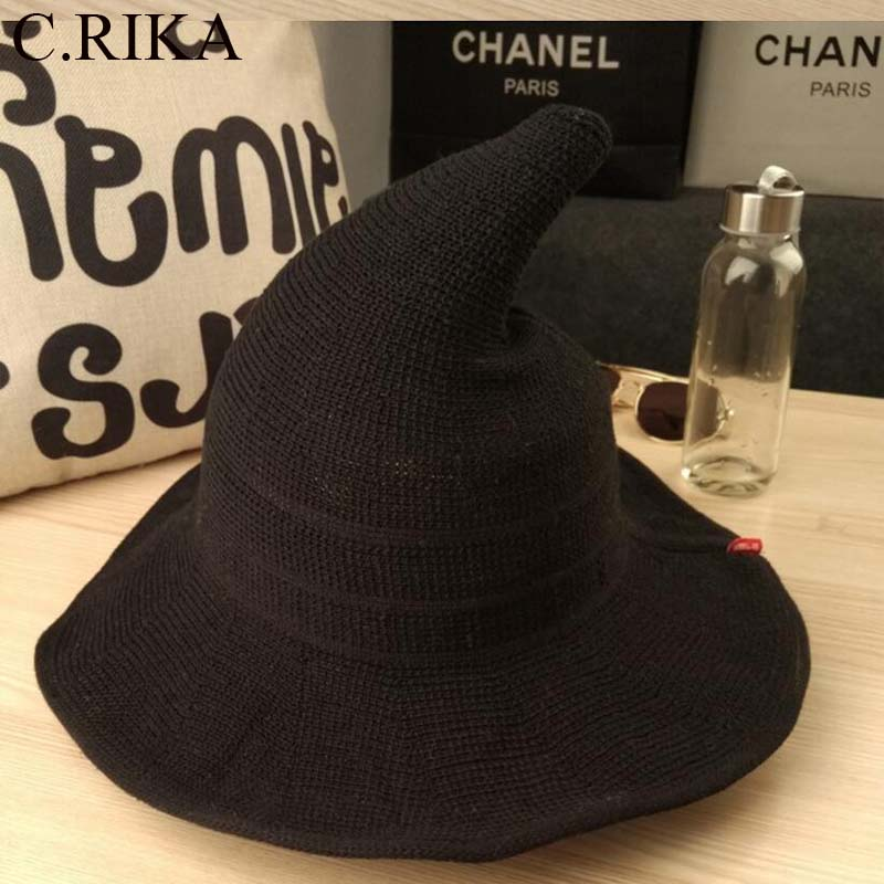 4e56f719543 2018 new cartoon embroidered Pompon bucket hat woman pointy Witch hat black  fashion spring summer autumn steeple ...