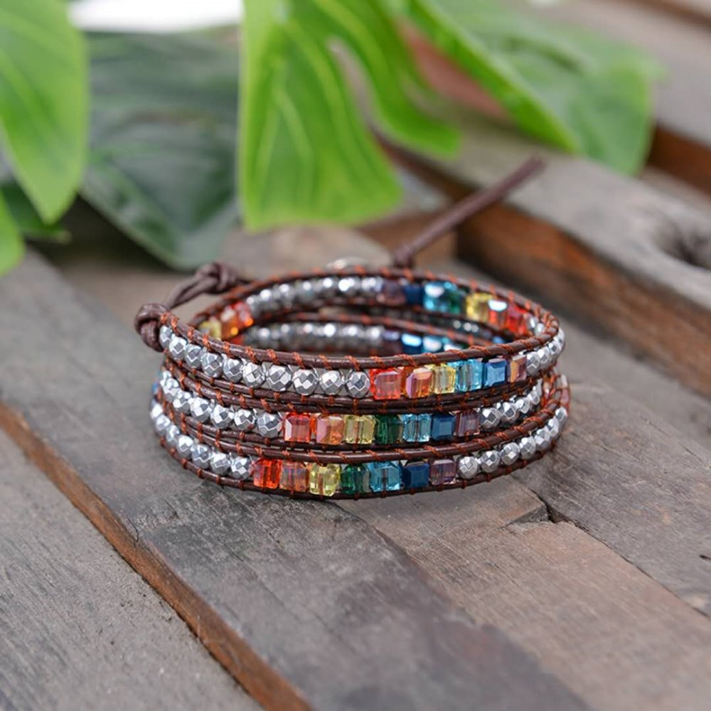 b79cb407b Chakra Bracelet Jewelry Handmade Leather Wrap Bracelet Multi Color Spare Crystal  Beads Natural Stone Bracelet-in Chain & Link Bracelets from Jewelry ...
