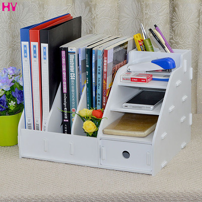 Modern Fashion Office Desk Organizer DIY Wooden Storage Box