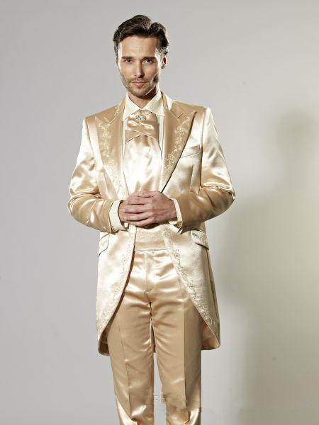 Latest Coat Pant Designs Gold Satin Palace Groom Tuxedos Embroidery Tailcoat Man Suit 2 Piece Mens Wedding Morning Party Suits
