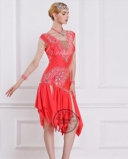 red customize custom back cutout Rumba cha cha salsa tango Latin dance competition dress with beads