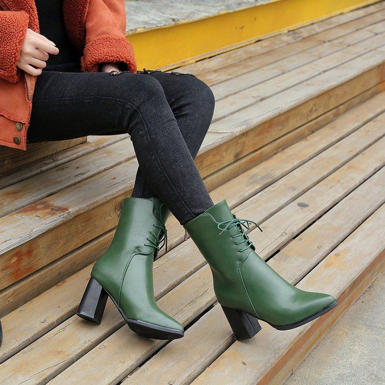 2019 autumn winter leather boots women