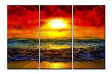 3 Panel  Canvas Wall Art Sunset Glow Seascape Oil Painting Waves Scenery Pictures For Living Room