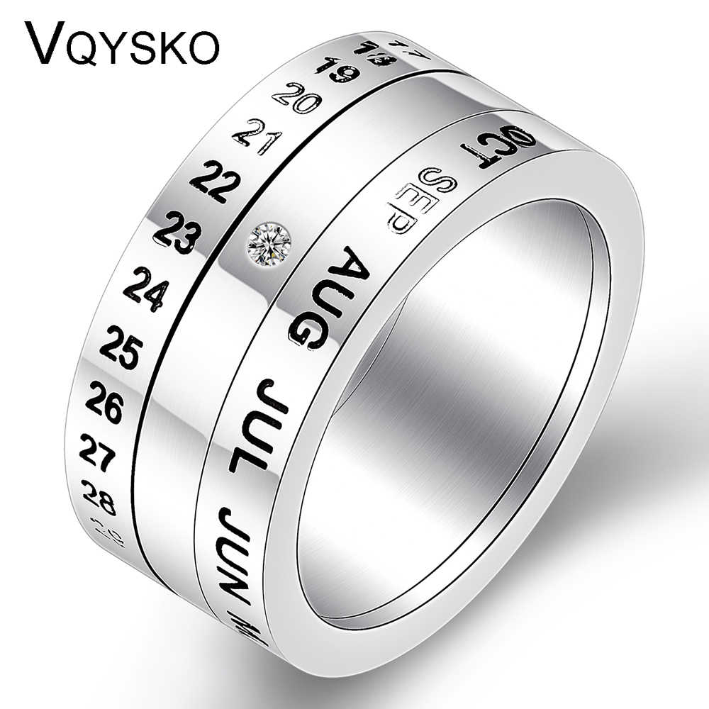 Wholesale Number and Month Letter Rotatable rings for men anillos New Arrival Titanium Stainless Steel Punk Party Ring Jewelry
