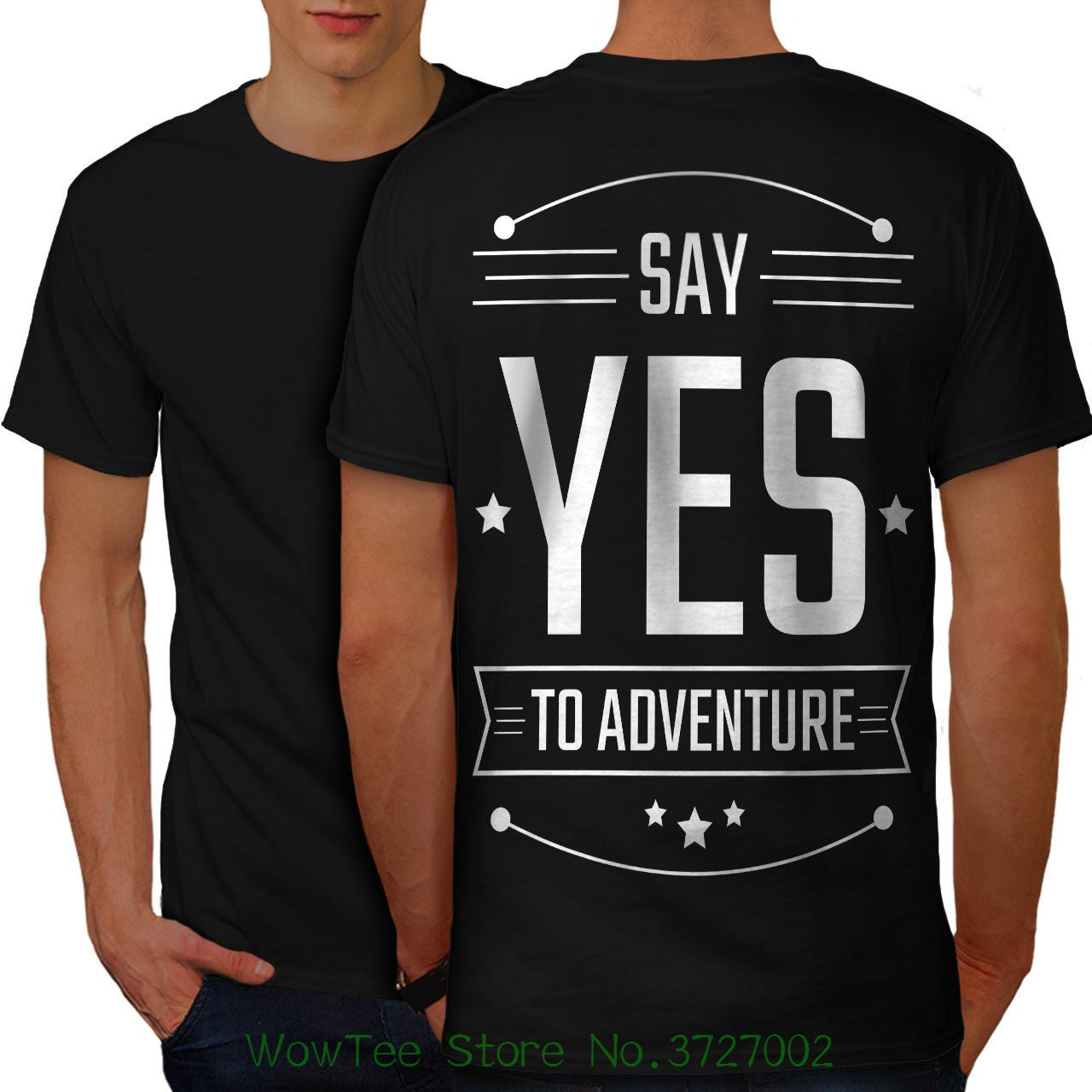 Yes To Adventure Funny Men T-shirt Back New | Printed Summer Style Tees Male Harajuku Top Fitness Brand Clothing