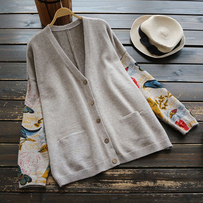 Japanese Mori Girl Sweater Women Clothing Autumn New Full Sleeved V neck Printed Buttons Preppy Vintage