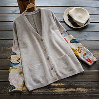 Japanese Mori Girl Sweater Women Clothing Autumn New Full Sleeved V neck Printed Buttons Preppy Vintage Female Sweater Cardigan