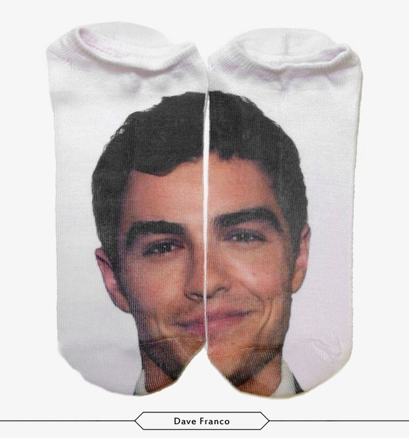 Women/Girl Casual Thin Funny Harajuku 3D Dave franco Photo Print Anklet  Socks Chaussettes Femmes