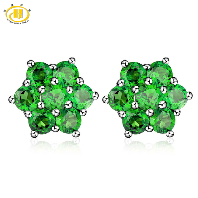 Hutang 2 65 Ctw Natural Chrome Diopside Russian 925 Sterling Silver Fl Stud Earrings For