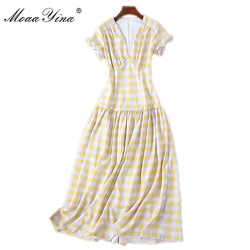 Plaid Floral Moaayina Schlank Dress mit Runway Gelb Sommer Designer Damen Print kurzenrmeln Elegantes Adrette Ausschnitt Fashion V HeEYIWD29
