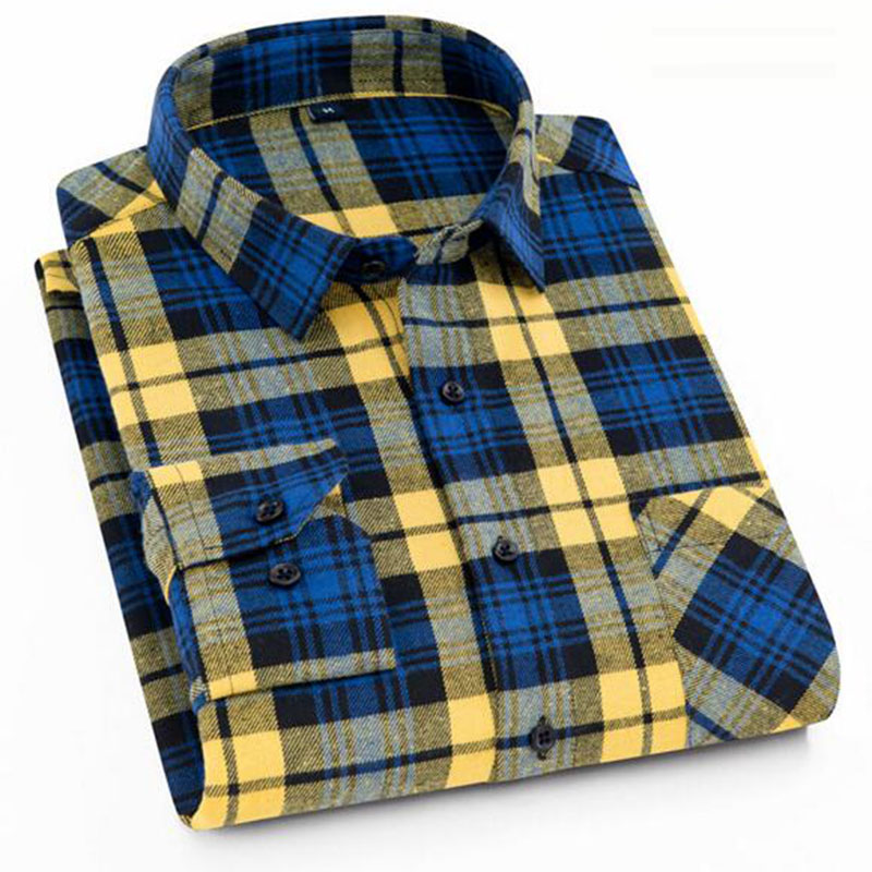 Men Long Sleeve Single Breasted Shirts Camisa,Breathable Comfortable Plaid Printed Casual Slim Fit High Quality Shirts Cloth